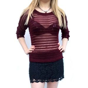 Topshop crochet sheer burgundy wine knit sweater